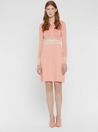 Short merino wool dress - Eau de rose / blanc casse