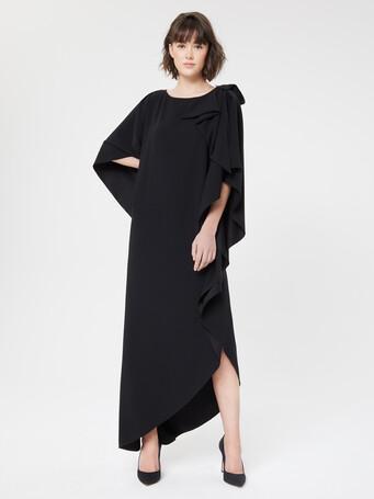 Robe longue en crêpe envers satin - Noir