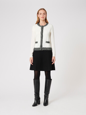 Wool and cashmere cardigan - Off white / black
