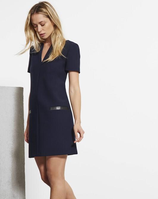 Stretch tricotine dress - Navy blue