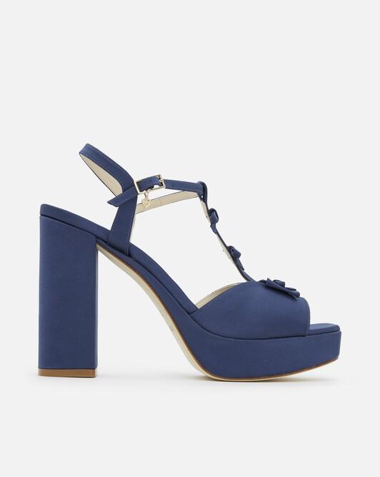 Sandals in satin - Navy blue