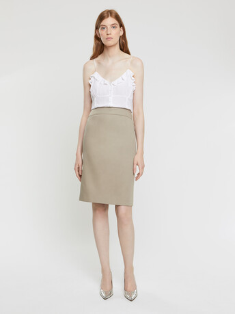 Cotton couture pencil skirt - Taupe