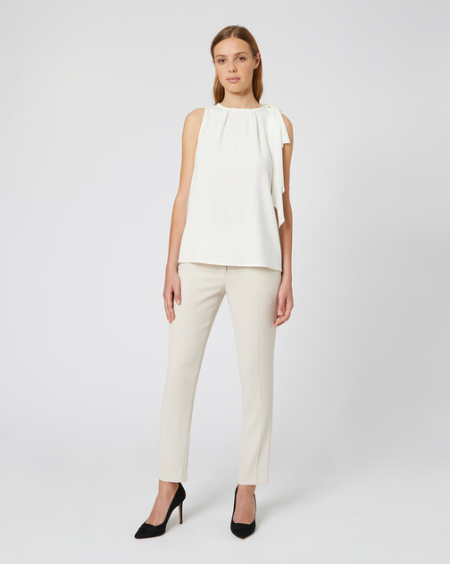 Satin-back crepe pants