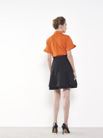 Chemise en popeline de coton stretch - Orange