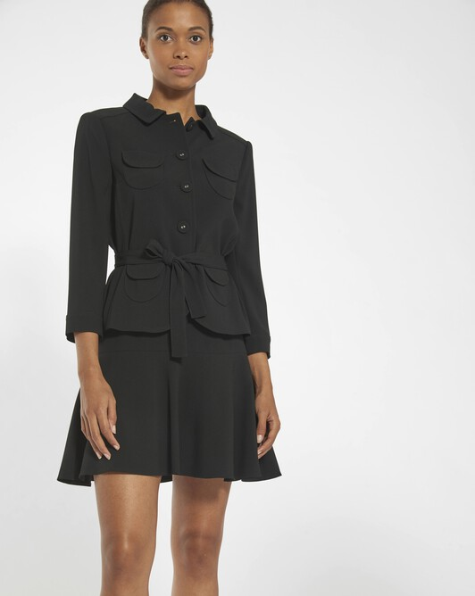 Satin-back crepe jacket - Noir