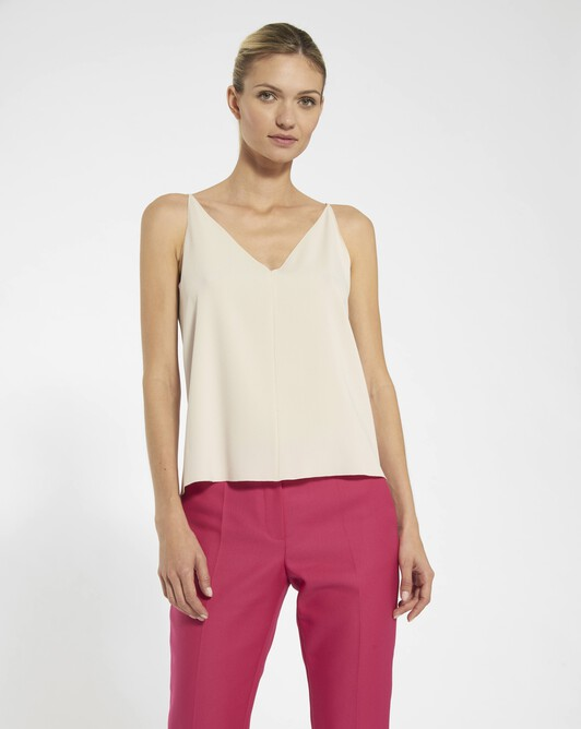 Tank top in satin-back crepe  - Coquille