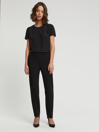 Pantalon en crêpe envers satin - Noir