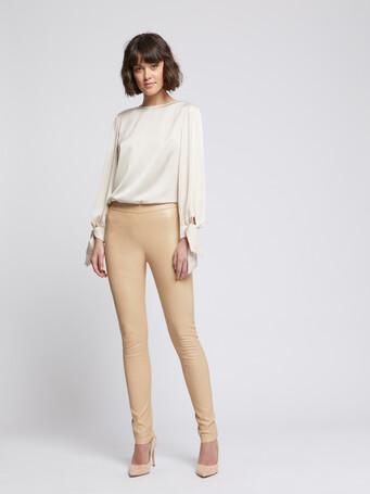 Pantalon slim en cuir d'agneau stretch - Camel