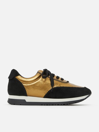 Laminated leather sneakers - Or brillant