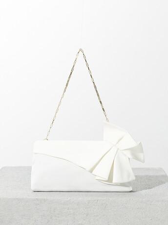 Ottoman-stretch clutch - Off white