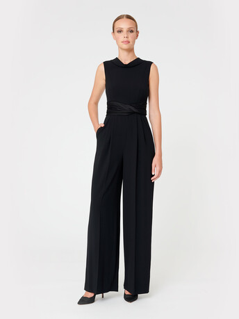 Satin-back crepe jumpsuit - Noir