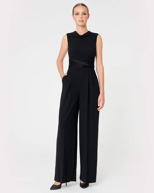 Satin-back crepe jumpsuit