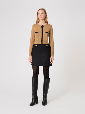 Merino wool cardigan - Camel / noir