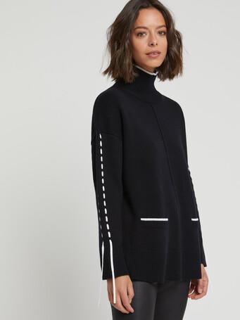 Pull en laine et cachemire - Noir / blanc casse