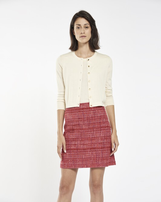 Cardigan in cashmere silk - Ivory