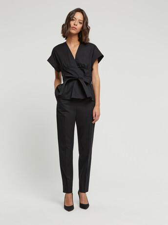Pantalon en popeline de coton stretch - Noir