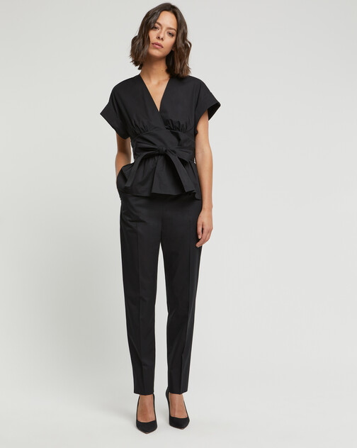 Pantalon en popeline de coton stretch
