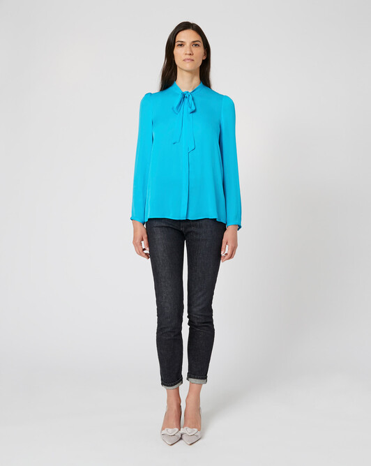 Stretch-charmeuse shirt - Ocean