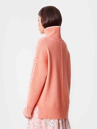 Pull en laine et cachemire - Eau de rose / blanc casse