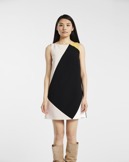 A-line dress in satin-back crepe - Noir / coquille