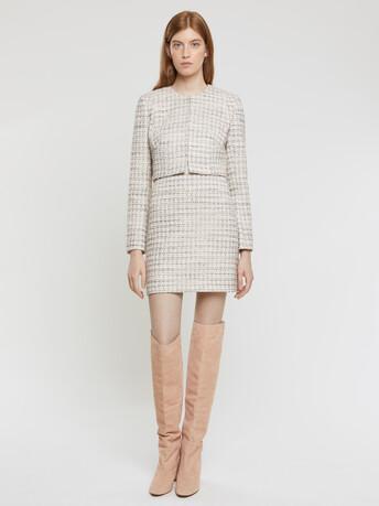 Mini-knot tweed skirt - Rose pale