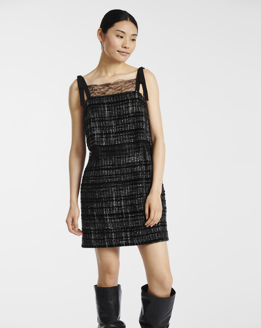 Lurex and velvet tweed dress - Noir