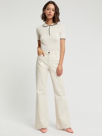 Merino wool sweater - Off white / black