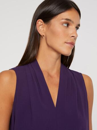 Satin-back crepe V-neck top - Purple