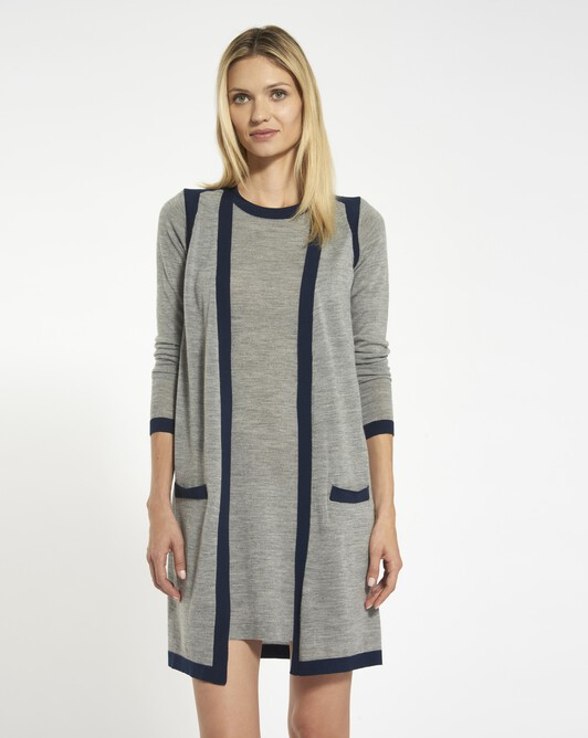 Merino dress - Souris / marine
