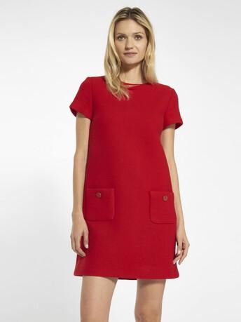 Robe en drap de laine - Rouge