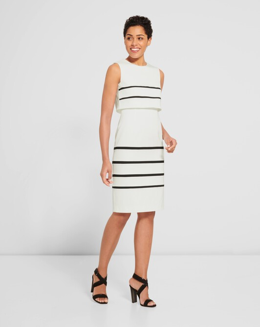 Stretch-ottoman dress - Off white / black