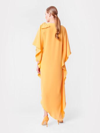 Robe longue en crêpe envers satin - Curcuma