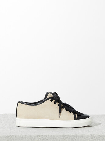 Suede leather sneakers - Sable / noir
