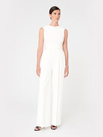 Satin-back crepe jumpsuit - Off white