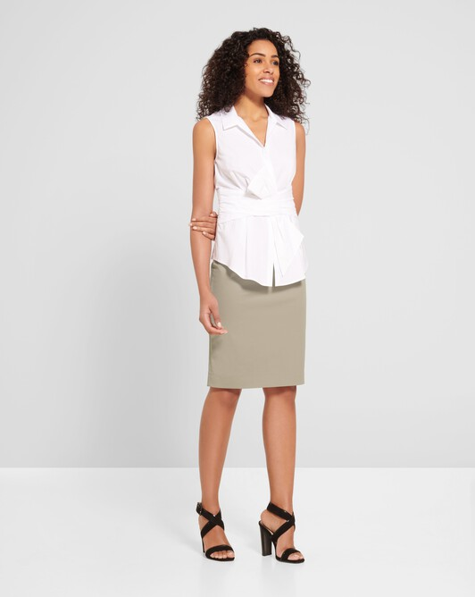 Cotton-gabardine skirt - Beige