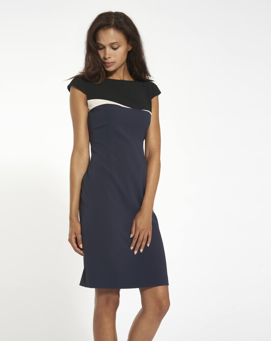 Dress in satin-back crepe - Marine / noir