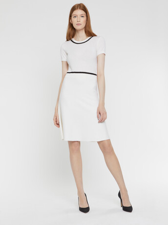 Robe courte en laine et cachemire - Blanc casse / noir
