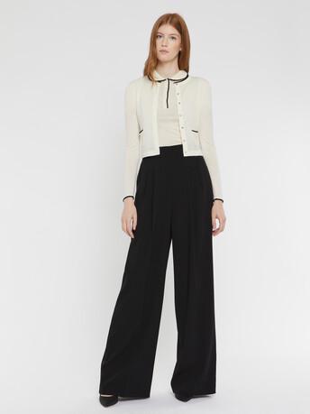 Merino wool cardigan - Off white / black