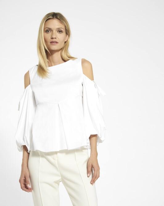 Haut en popeline de coton stretch - Blanc