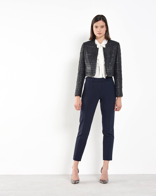 Woven leather jacket - Noir