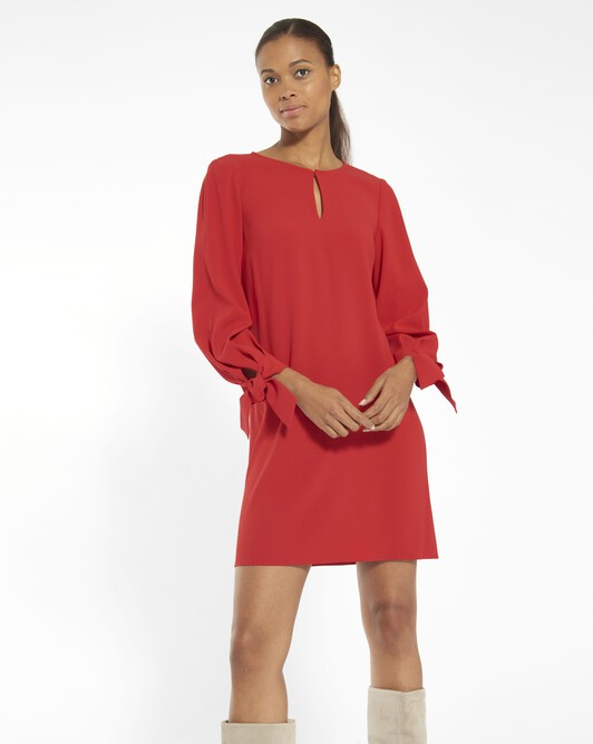 Robe en crêpe envers satin - Vermillon