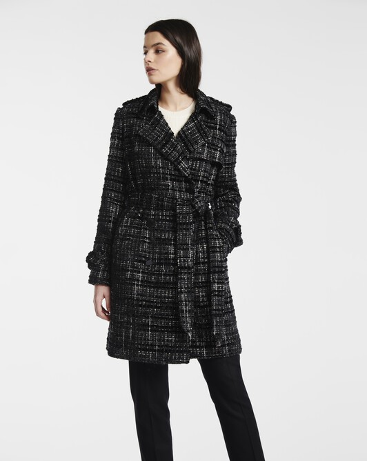 Manteau en tweed velours et lurex - Noir