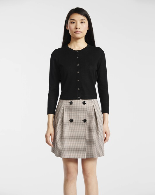 Skirt in houndstooth cotton - Black / camel