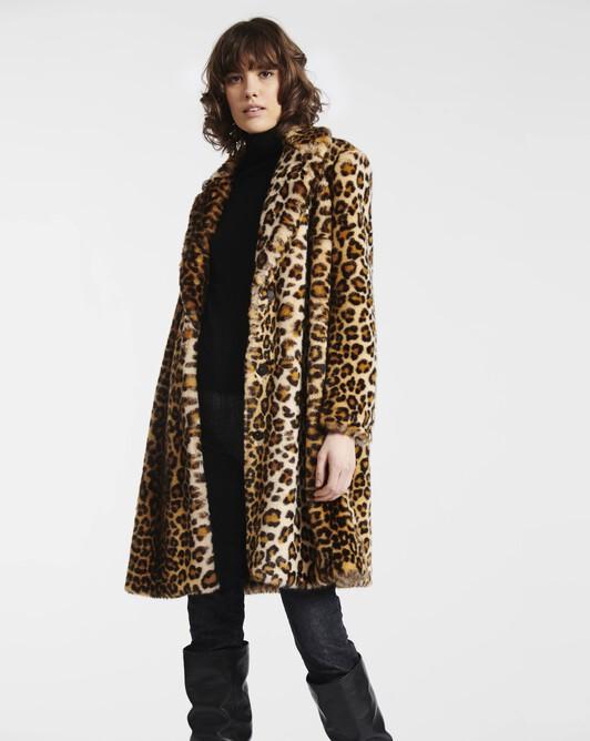 Leopard-print faux fur coat - Beige / noir