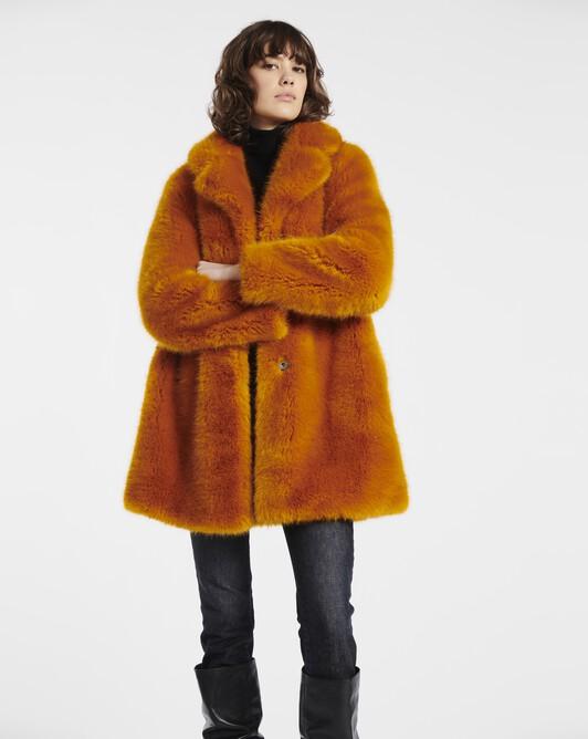 Manteau en faux renard coloré - Safran