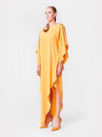 Satin-back crepe gown - Curcuma