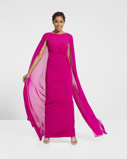 Satin-back crepe dress - Magenta