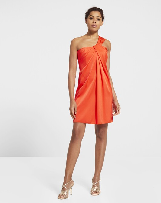 Robe en crêpe envers satin - Orange