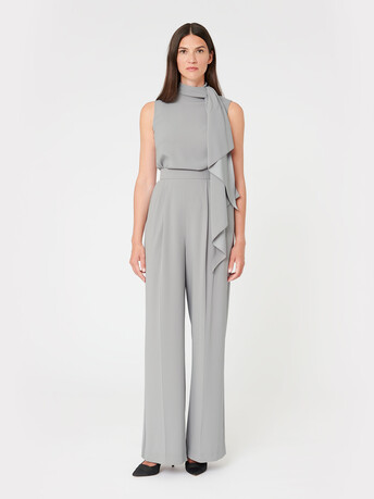Satin-back crepe pants - Cendre