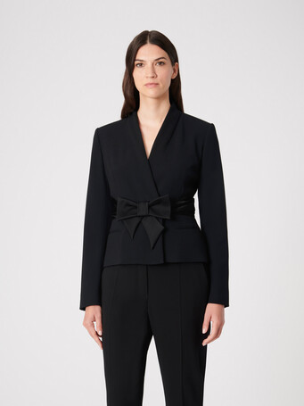 Satin-back crepe jacket - Noir
